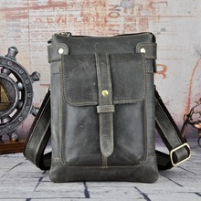 Fashion Real Leather Multifunction Casual Waist Pack Cross-body Bag Satchel Messenger Bag Hip Bum Pouch Waist Belt Bag 8711(China)
