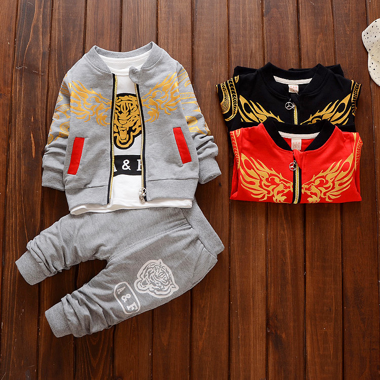 Childrens clothing baby boys casual cartoon tiger print child autumn spring set baby sports three pieces set kids clothes <br>