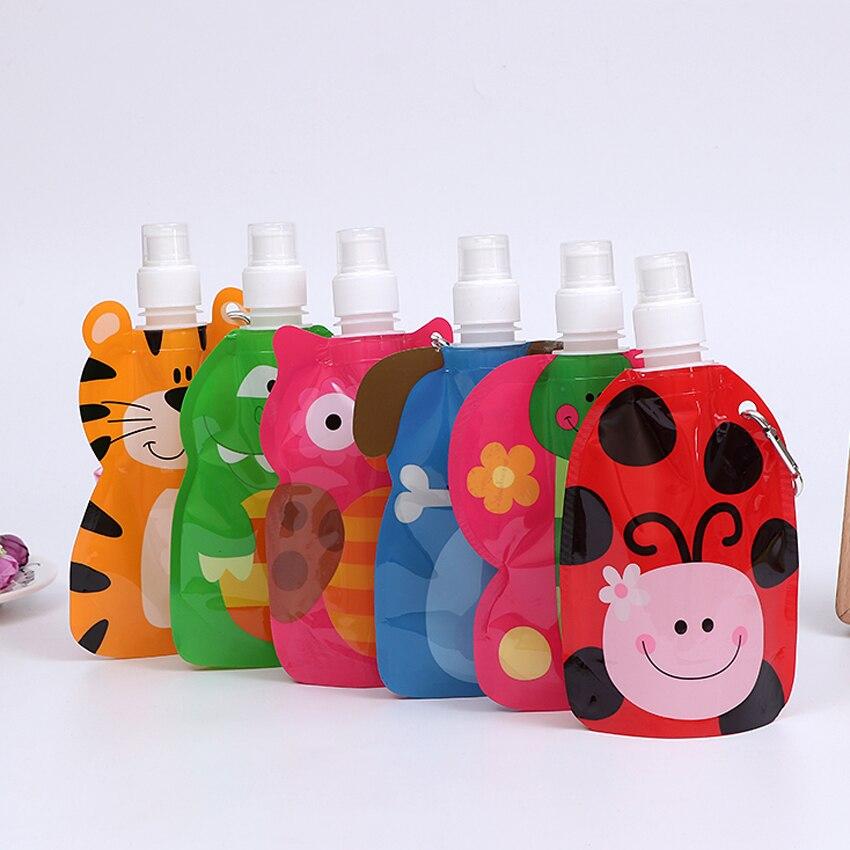 360ml Eco friendly foldable cartoons travel drink bottle safe for kids children