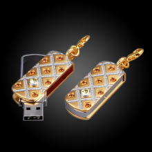 2015 New Golden Crystal Pendrive Jewelry Usb Flash Drive 32gb 16gb 8gb Fine Gifts Usb Memory Stick stick beautiful Disk on key(China)