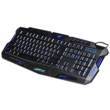New Multimedia Russian Keyboard 104 Keys 3 Colour LED Back light Gaming Keyboard USB Wired For Laptop Desktop PC(China)