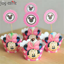 24pcs lovely minnie 12x cupcake wrappers + 12x toppers picks set for wedding decoration baby shower kids birthday party favor