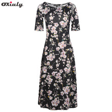 Oxiuly Women Elegant Beach Navy Print Clothing Floral Black Dresses Hollow Out Shoulder Spring Autumn O Neck Casual A Line Dress(China)