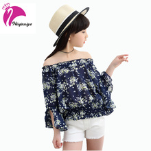 Baby Girls Shirts New Style 2017 Spring Autumn Children Fashion Floral Slash Neck Clothing Casual Flare Sleeves Blouses Hot Sale