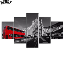 "5pcs,DIY Diamond Painting""Red London Bus""Decorative Picture of Mosaic Cross Stitch,Diamond 5D Diamond Embroidery wall stickers"