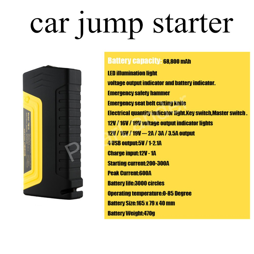 new arrival 12V Multifunction Jump Starter Car Emergency 4 USB Power Bank Battery Charger for diesel and gasoline car with pump