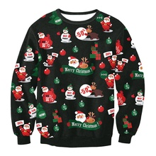 Sweater Santa Claus Cute Print Pullover Sweater Jumper Outwear Women's Patterns of Reindeer Snowman Christmas WD46(China)