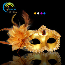 Venice Half Face Lily Feather Mask Fancy Ball Party Princess Mask Masquerade Masks Female Ladies Dress Beauty Big Flower Golden(China)