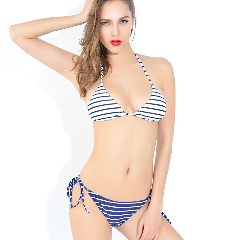Women Sexy Blue And White Striped Two-piece Push Up Swimsuit Bandage Halter Bikini Set With Pad Low Waist Swimwear Bathing Suit<br><br>Aliexpress