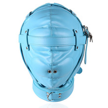Buy PU leather bondage harness bdsm hood fetish mask adult games couples flirting tools slave restraints headgear sex products