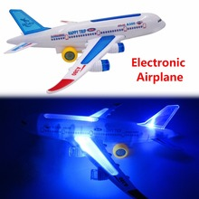 Hot Sale Magical Electronic A380 Airplane Bus With Music And Light Auto cruise no track Educational Toys For Children Best Gift(China)