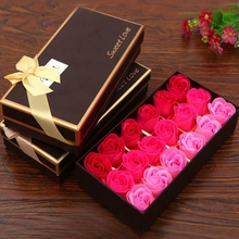 18 Roses Set Scented Bath Soap Rose Soap Flower Petal With Gift Box For Wedding Valentine's Day GPD8099