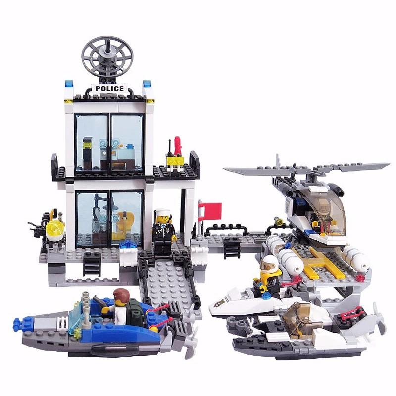 KAZI 6726 Police Station Building Blocks Helicopter Boat Model Bricks Toys Compatible LegoINGlys Blocks Toys For Children Gift 2