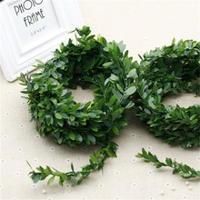 3.75 M 150 inches / pcs Silk Wreath Green Leaf Iron Wire Artificial Flower Vine In Rattan For The Car Decoration DIY Wedding flo