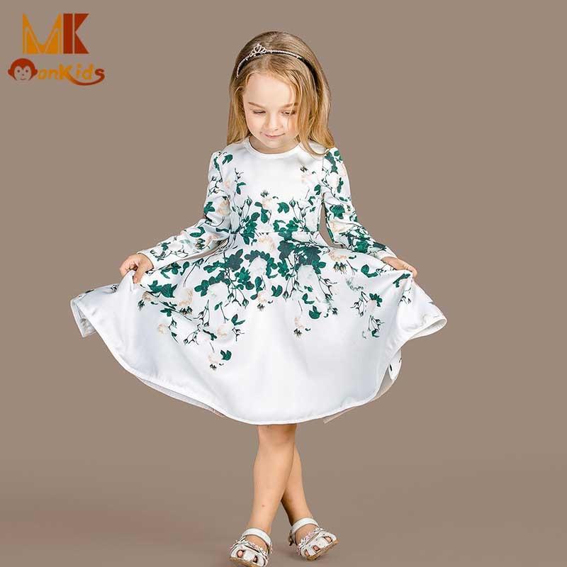 Monkids 2017 Autumn Kids Dresses For Girls Flower Girls Dress Childrens Costumes Girls Long Sleeves Dress Clothes Clothing<br><br>Aliexpress