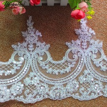 YACKALASI Wedding Dress Lace Fabric Applique Bridal Gown Trims 3D Flower Sequins Embroidered Scallop Sewing Apparel Border 24CM(China)
