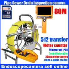 Pipe inspection 7mm fiber 80m cable reel with a digital meter counter and pan/tilt rotating camera built-in 512Hz transmitter