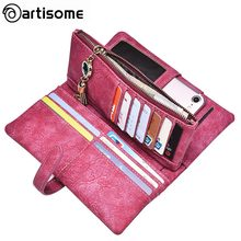 Original ARTISOME Leather Wallet Female Bag Case For iPhone 6 6S Plus Card Holder Long Women Purse Filp Leather Passport Cover(China)