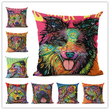 Cartoon Style Color Dog 3 Printing Linen Cotton Cushion Cover Throw Pillow Sofa Pillow Cojines(China)
