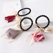 MISM Women Chiffon Ribbon Elastic Hair Bands Simulated Pearl Ponytail Holder Girls Flower Hair Accessories Female Headwear