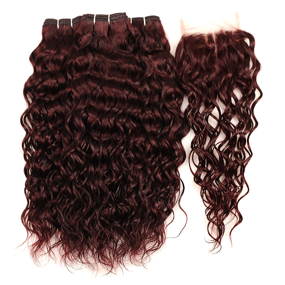 Pinshair Burgundy Brazilian Hair Weave Bundles With Closure Red 4 Pcs Water Wave Human Hair 3 Bundles With Lace Closure Non Remy (147)