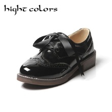 New Women Casual Brogue Shoes Black Red Oxfrods For Women Round Toe Flats Retro Patent Leather Oxford Shoes Woman Size 34-43