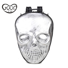 GOOG.YU Skull leather backpacks men ghost face shoulder bags Embossed relief three-dimensional decoration backpacks for childre(China)