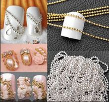 High Quality 100% New 1m Nail Art Tips 3D Stickers Metal Glitter Striping Ball Beads Chain Decorations With Low Price