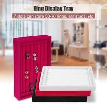 Portable Velvet Jewelry Ring Earring Insert Display Cufflinks Organizer Box Wooden Flat Stackable Tray Holder Storage
