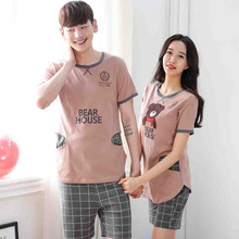 2017 New Lovers Pajamas Women Short-sleeved Summer Pyjama Sets Cotton Couple SLeepwear suit men Casual Homewear set