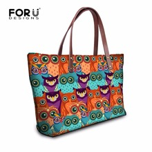 FORUDESIGNS Colorful Painting Owl Handbag for Women Artist Shoulder Tote Bag Designer College Women Shoulder Handbag Casual(China)