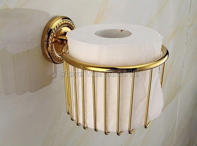 Luxury Gold Color Brass Bathroom Wall Mounted Toilet Paper Holder Roll Tissue Holder Basket Wba609<br>