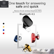 2017 Newest Baseus encok vibrate Bluetooth 4.1 wireless earphone finger control headphone with retail package(China)
