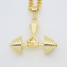 2017 New Fashion Men jewellery Sports Heavy dumbbell pendant hiphop Necklace N768