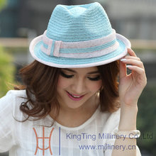 Free Shipping Hot Sale Women Summer Hats Straw Hat Sinamay Ribbons Sun-Shading New Arrival Summer Two Tone Colors Simple Styles(China)