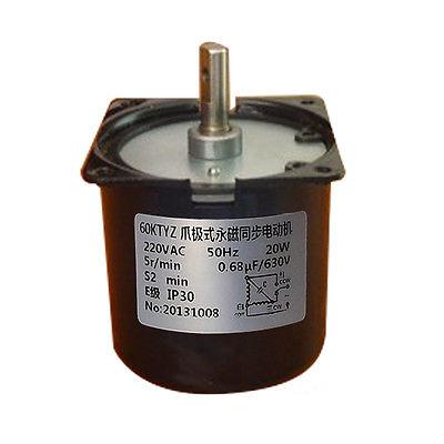 60KTYZ AC Synchronous Gear Motor 220V 20W 5r/min  8mm Shaft Diameter<br><br>Aliexpress