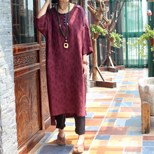 2017 Original High-End Double Jacquard Linen Hit Loose Dress Summer O-Neck Seven Sleeve Vintage Chinese Style Button Long Dress(China)