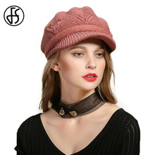 FS Womens Beret Hats Crochet Hat Knit Winter Cap Cotton Hats Vintage Peaked Cap Knitted Berets Soft Casual Visor Baggy Hat(China)