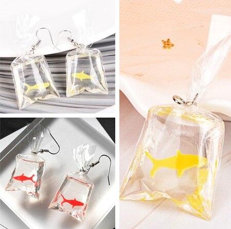 Cute Koi Fish Water Bag Dangle Earrings For Women Fancy Trendy Girls Graceful Joker Fish Eardrop 2 Colors 2019 New