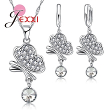 JEXXI Trendy Wedding Jewelry Sets Necklace Earrings 925 Sterling Silver Women Butterfly Austrian Crystal Pendant Wholesale