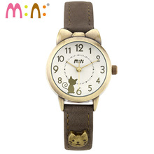 M:N: Handmade POLYMER CLAY Korea Mini watch Vintage style ladies women's watches Children clock relogio feminino lovely cat(China)