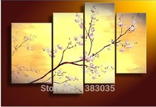 Hand Painted Modern Oil Painting Flower Cherry Blossom Wall Decor Canvas Picture 4 Piece Abstract Art Sets New Fashion(China)