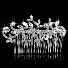 Beautiful Floral Wedding Tiara Sparkling Silver Plated Simulated Pearl Crystal Bridal Hair Combs Hair Jewelry Hair Accessories