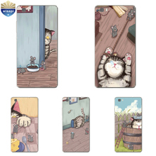 Phone Case For Huawei P8/P8 P9 Lite Plus G9 Shell Honor 5C 7 7I Back Cover Mate 7 8 Cellphone Cat and Mouse Design Painted