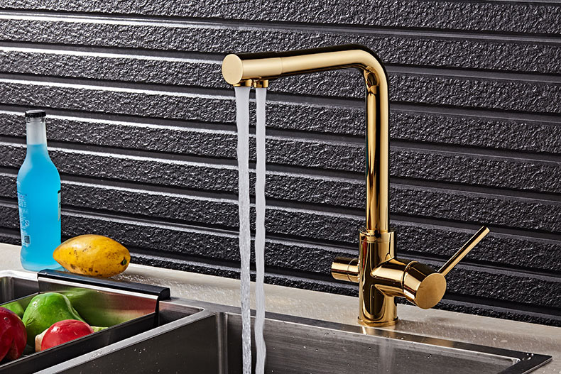 Kitchen Faucet With Filtered Water 360 Rotation Mixer Tap Brass Kitchen Faucet with Filter (7)