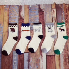 4Pair/2Style New Fashion Men's Colorful Socks Novelty Stripes Grid Short Happy Sock Men compression Cute Animal Socks