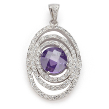 The new product Bohemia Promotion Purple Cubic Zirconia and White Cubic Zirconia beautiful Silver Plated Hiphop Pendant  R3263