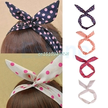 Lovely Dot Rabbit Bunny Ear Ribbon Metal Wire Headband Scarf Hair Bow Head Band Hair Accessories #Y51#(China)