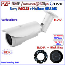 H.265 SONY 3.2MP Sensor 1080P camaras ip outdoor 2MP ipcamera 3MP ONVIF 2.4 Hi3516D POE surveillance SMD IR LED, Varifocal Lens
