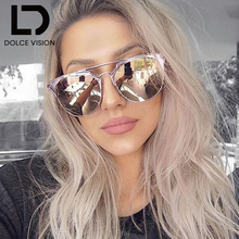 DOLCE VISION Ladies Round Aviator Women Pink Mirror 2017 Luxury Shades Mirror New Sun Glasses For Women
